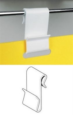 DISPLAY CLIP - WING CLIP, HVID PLAST 45 x 24mm, TIL 5mm TRÅD.